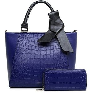Crocodile Embossed Blue Bowtie Tote & Wallet Set